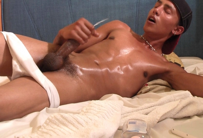 Chest massage, jerking off and cumshot