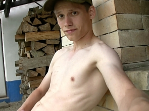 Outdoor Webcam - Horny Village Boy - Cumshot